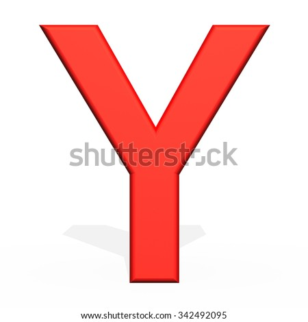 3d rendering letter Y isolated on white background