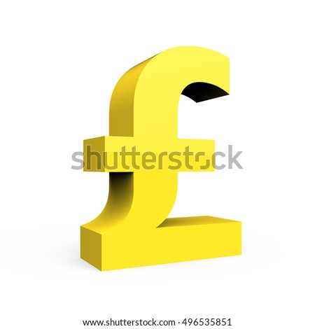 3D rendering light yellow pound sign isolated on white background