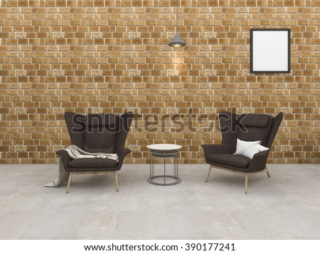3d rendering loft brick room with armchair and beautiful lamp - stock photo