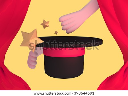 3d rendering magician's hand and hat. Red curtain decoration.
