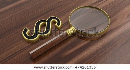 3d rendering magnifier glass and paragraph symbol on a wooden surface