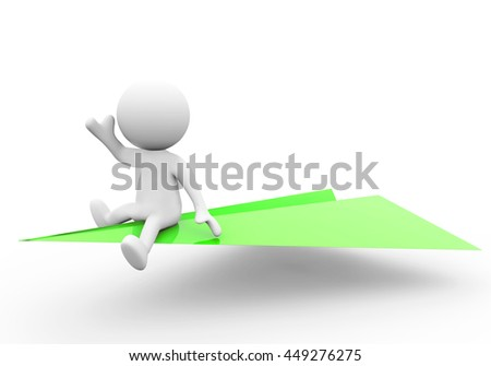 3D Rendering man flying on paper airplane