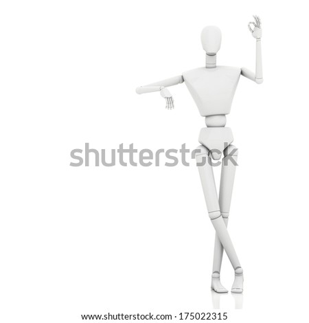 3d rendering man leaning on something and showing okay hand gesture  - stock photo