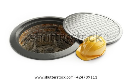 3d rendering, Manhole in-service. construction helmet isolated on white background. 3D illustration