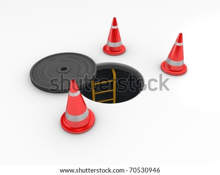 3d rendering, Manhole in-service. isolated on white background. - stock photo