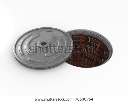 3d rendering, Manhole in-service. isolated on white background.
