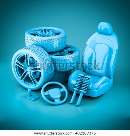 3D rendering many auto parts on a blue background - stock photo