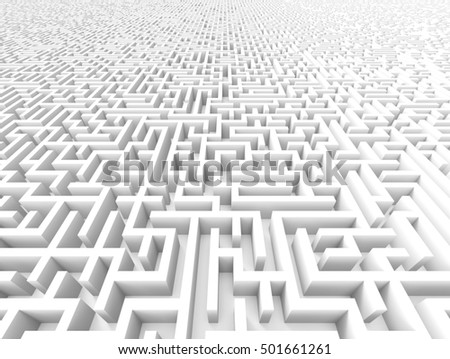 3d rendering maze, huge maze template isolated on white floor