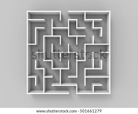 3d rendering maze, top view of square maze template isolated on glossy floor