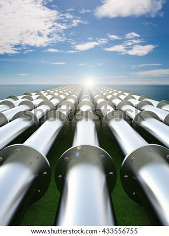 3d rendering metal pipeline with blue sea and blue sky background