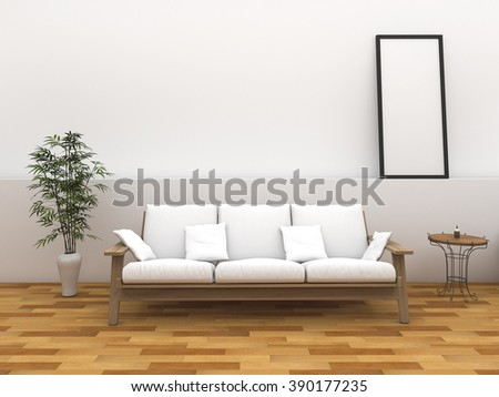 3d rendering minimal style room with vintage style bench - stock photo
