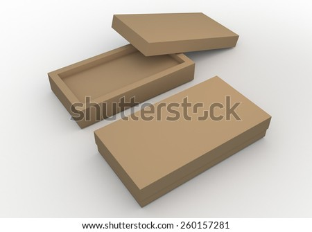 3D Rendering Mock Up Original Brown Box, packaging Design for Candy, Snack in Isolated Background with Work paths, Clipping paths Included. - stock photo