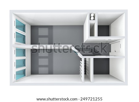 3D rendering. Model of the one-room apartment. The empty apartment without furniture, bathroom equipment and finishing. The sunlight gets to windows. - stock photo