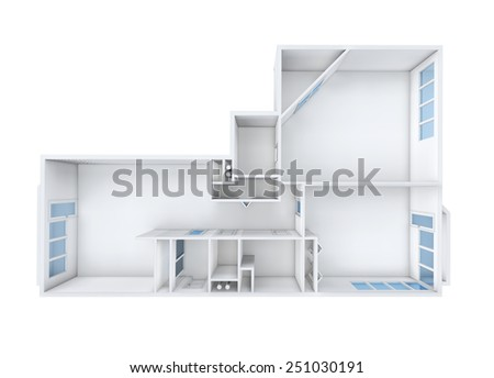3D rendering. Model of the three-room apartment. The empty apartment without furniture, bathroom and finishing. Floors in rooms have different bright color: blue, yellow, orange, violet, green, red. - stock photo