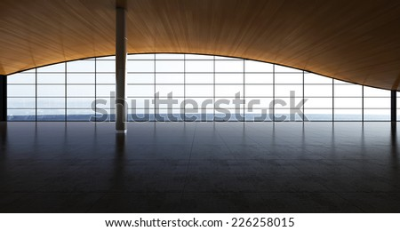 3d rendering. Modern airport passenger terminal. Empty hall interior with ceramic floor to ceiling windows and scenic background. nobody, sky, glass, window, luxurious. - stock photo