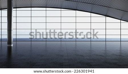 3d rendering. Modern airport passenger terminal. Empty hall interior with ceramic floor to ceiling windows and scenic background. departure lounge - stock photo