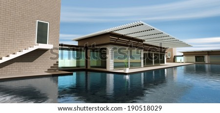 3d rendering modern home with pool - stock photo