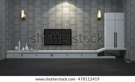 3d rendering modern tv cabinet in minimal room with lamp