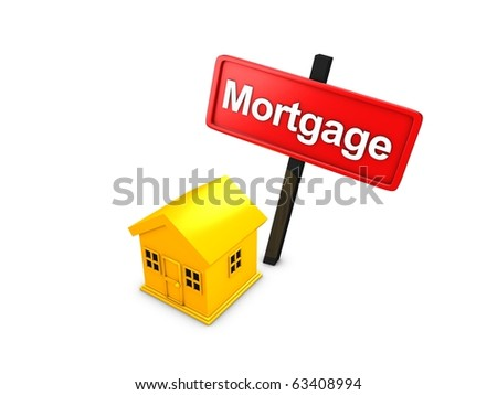 3d rendering, Mortgage loan concept isolated over white background - stock photo