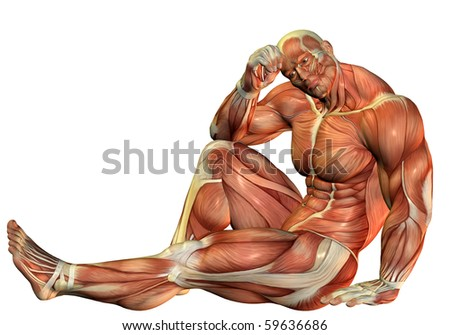 3D Rendering Muscle Body builders in a seated pose - stock photo