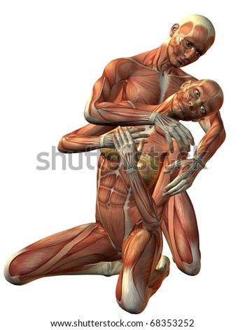 3D rendering muscle man and woman kneeling - stock photo