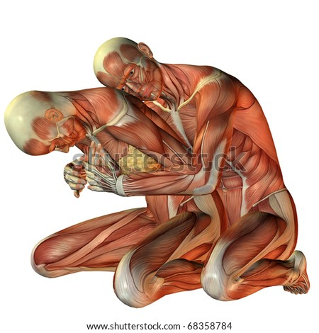 3D rendering muscle man hugging woman from behind - stock photo