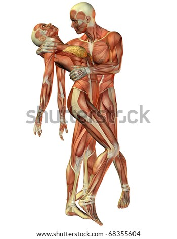 3D rendering muscle woman and man standing - stock photo