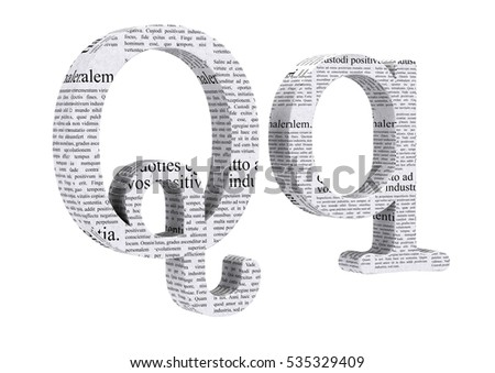 3D Rendering Newspaper Q Font 3D Illustration