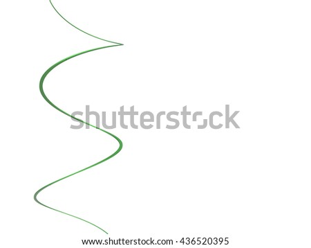 3D rendering nice green curve isolated with white - stock photo