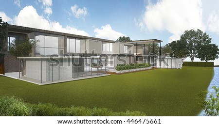 3d rendering nice loft style house near river