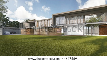 3d rendering nice modern style house with beautiful garden