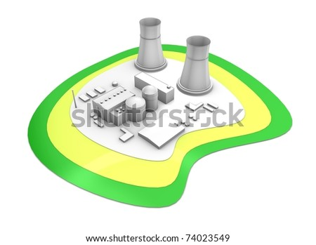 3d rendering Nuclear power station, isolated on white background. - stock photo
