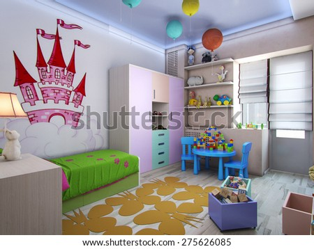 3d rendering nursery for girls in pastel colors - stock photo