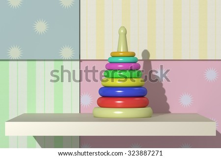 3d rendering of a baby toy on a colored background