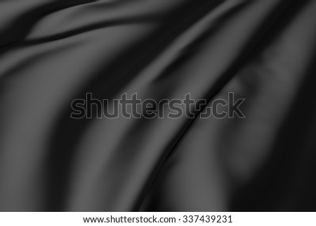 3d rendering of a background of a black silk - stock photo