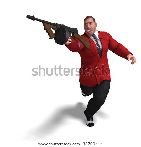 3D rendering of a bad mafia gun man with clipping path and shadow over white - stock photo