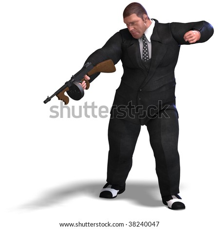 3D rendering of a bad mafia gun man with clipping path and shadow over white