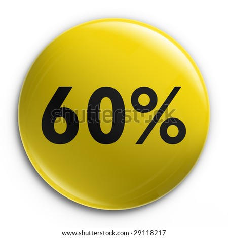 3d rendering of a badge with 60 percent off