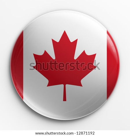 3d rendering of a badge with the Canadian flag - stock photo