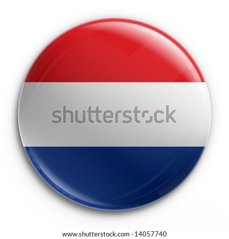 3d rendering of a badge with the Dutch flag - stock photo
