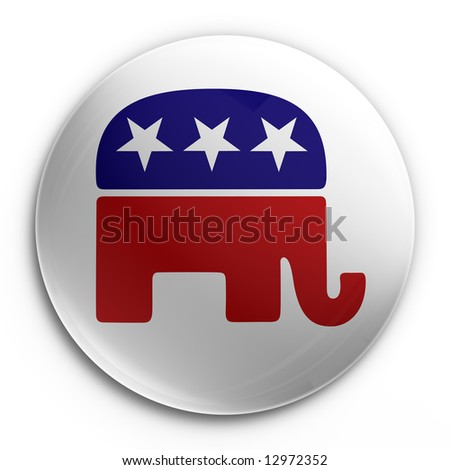 3d rendering of a badge with the republican logo - stock photo