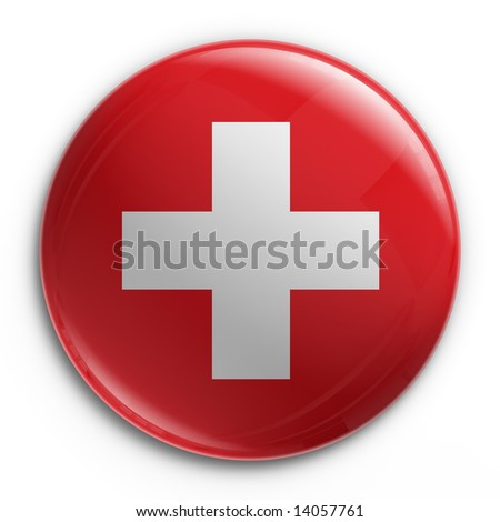 3d rendering of a badge with the Swiss flag - stock photo