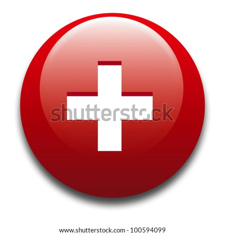3d rendering of a badge with the Swiss flag / Badge - Swiss flag - stock photo
