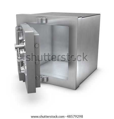 3d rendering of a bank safe with open door - stock photo