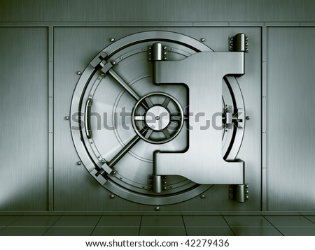 3d rendering of a bank vault seen straight on - stock photo