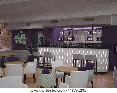 3d rendering of a bar and dinner interior design