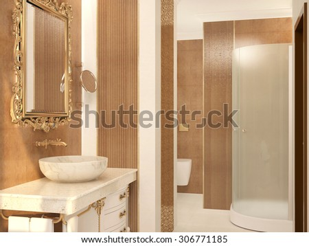 3d rendering of a bathroom interior design - stock photo