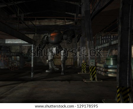 3D rendering of a battle robots in a factory building - stock photo