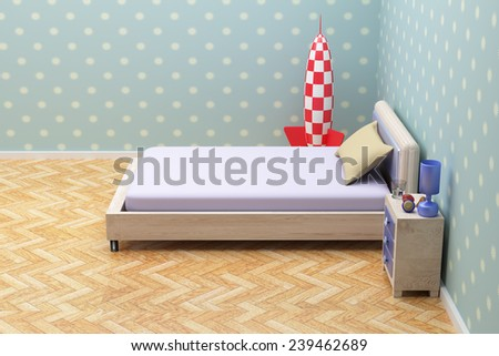 3d rendering of a beautiful blue room with a nightstand - stock photo