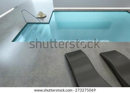 3D rendering of a beautiful indoor pool - stock photo
